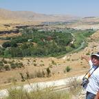 Golan Höhen; der Fluß ist die Grenze zu Syrien, seit 1967 besetzt durch Israel, rechts Jordanien