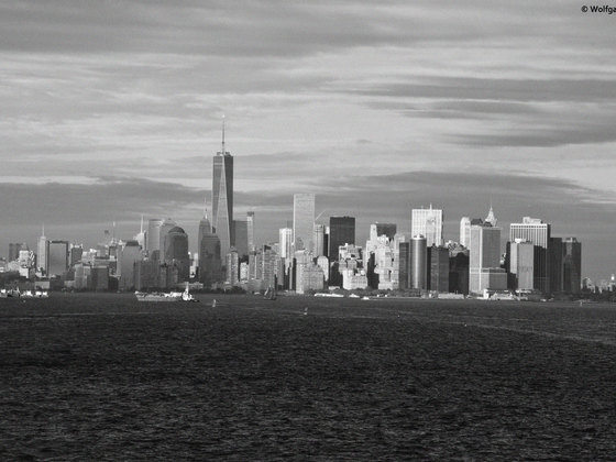 Skyline von New York in S/W