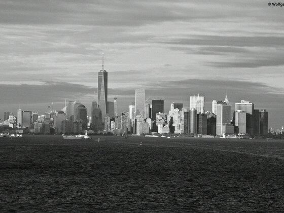 Skyline von New York in S/W