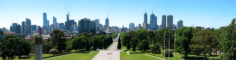 view from Shrine of Remembrance to Melbourne